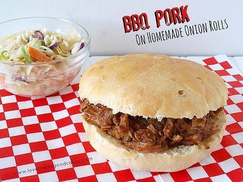BBQ Pork on Homemade Onion Rolls