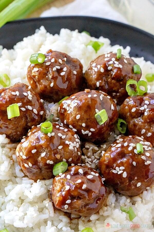 closeup of meatballs