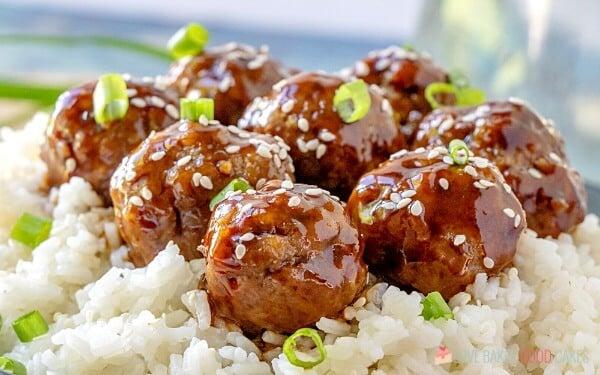 Sticky Asian Glazed Meatballs over steamed rice