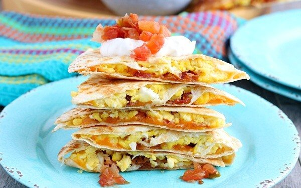A stack of delicious breakfast quesadillas ready to be shared and enjoyed!