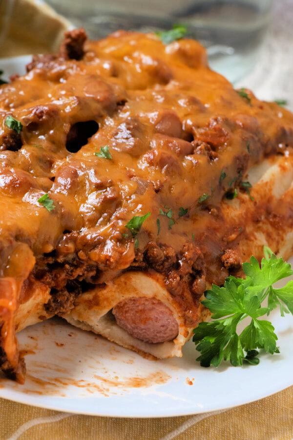 chili dog casserole on plate