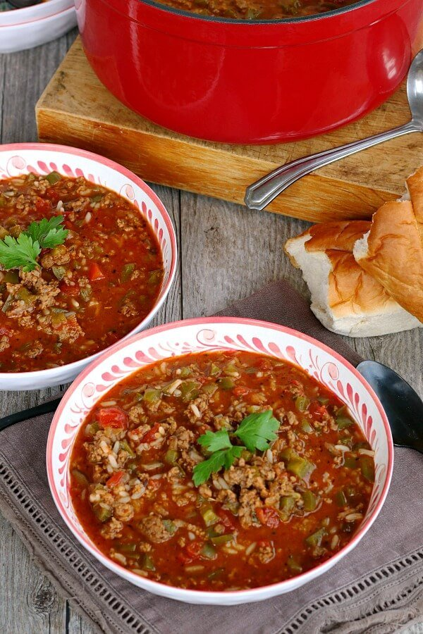 two bowls of stuffed pepper soup