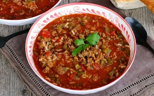 closeup pf stuffed pepper soup in bowl