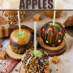array of finished caramel apples