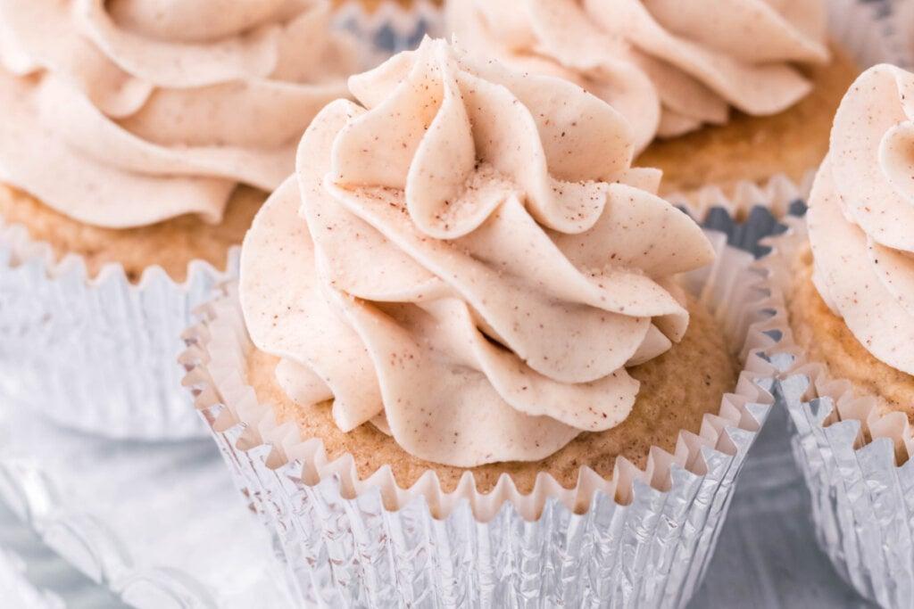 cinnamon cupcake in aluminum wrapper