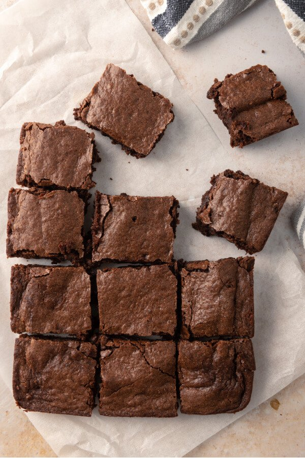 cut brownies on parchment