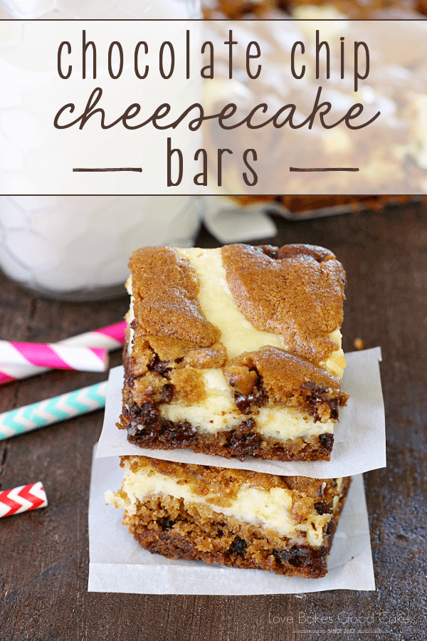 Chocolate chip cookies or cheesecake? Why choose when you can have these Chocolate Chip Cheesecake Bars!! They are the best of both worlds!