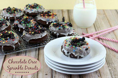 Chocolate Oreo Sprinkle Donuts