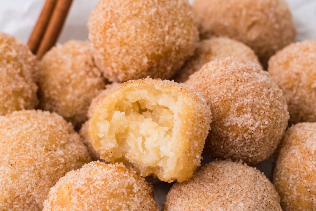 balls of cinnamon-sugary goodness stacked on top of each other