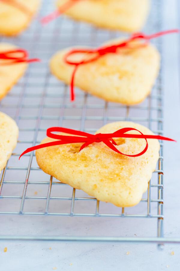 valentine cookie on cooling rack