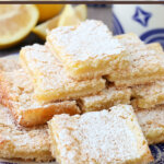lemon bars stacked on plate