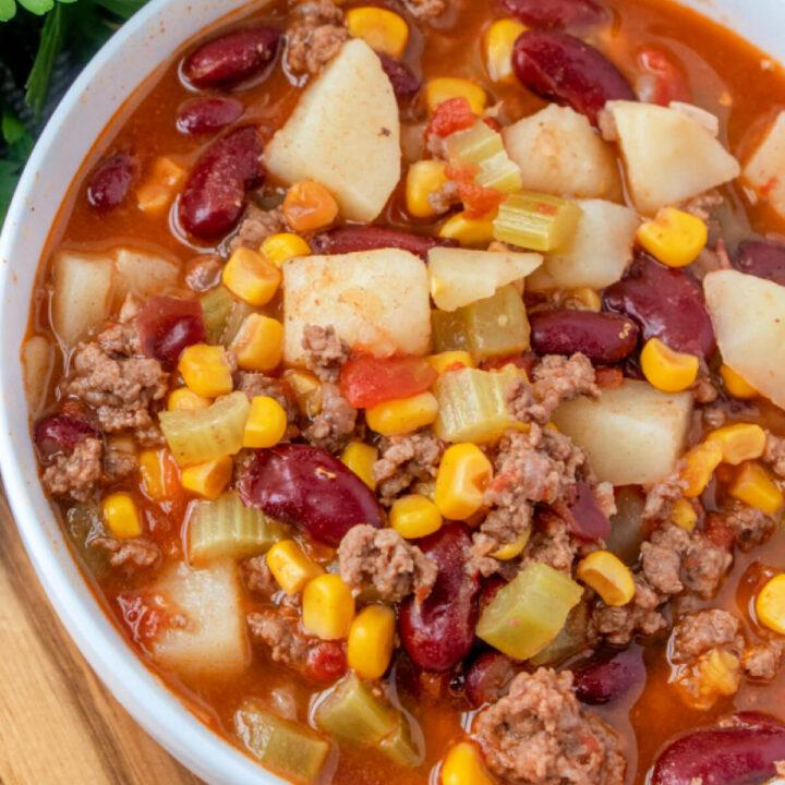 closeup bowl of shipwreck stew