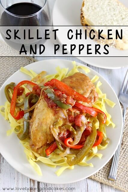 Skillet Chicken and Peppers on a plate.