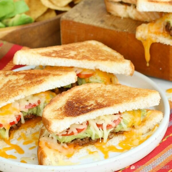 Taco Stuffed Grilled Cheese Sandwich on a plate
