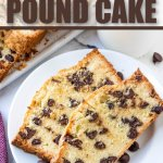 2 slices of chocolate chip pound cake loaf on white plate