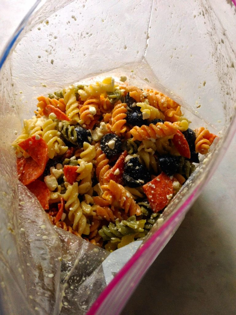 Pepperoni & Feta Pasta Salad - This Salad Is May Bag, Baby!  #AustinPowersReference www.soliloquoffood.com