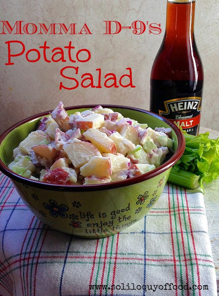 Gently toss the potatoes with malt vinegar before you dress them for an added level of flavor -- Mamma D-9's Potato Salad - www.soliloquyoffod.com #RedPotatoSalad #EggFree