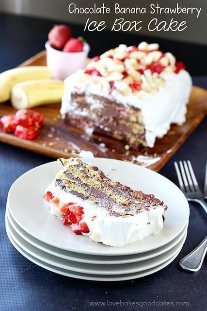 Chocolate Banana Strawberry Ice Box Cake