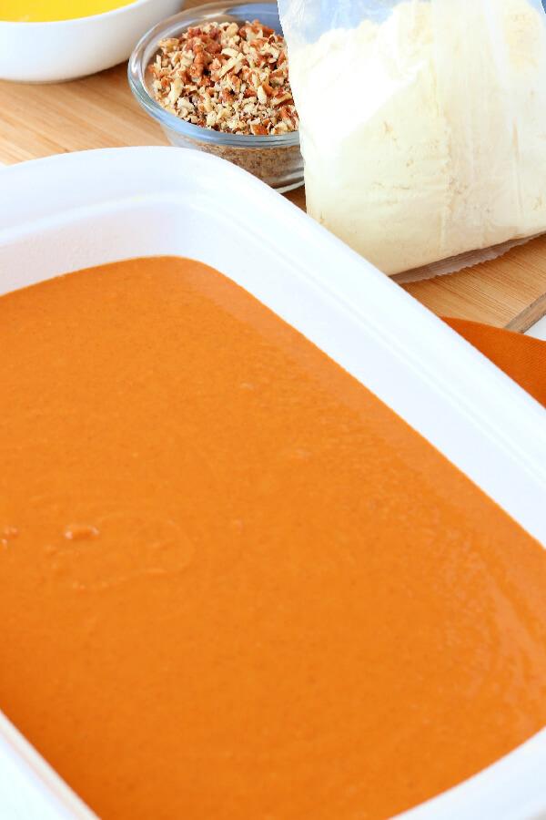 pumpkin batter in pan