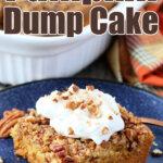 pumpkin dump cake slice on blu eplate