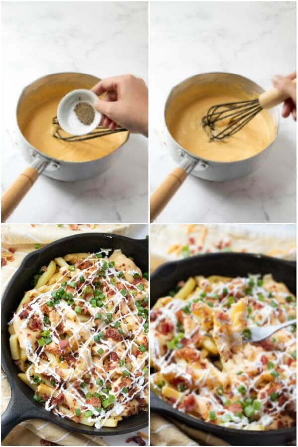 how to make cheese fries sauce with bacon