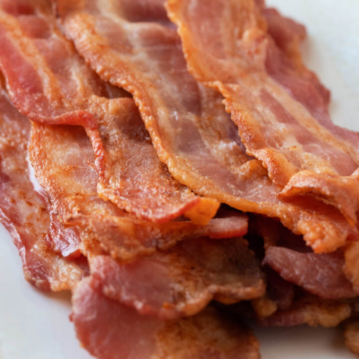 closeup of bacon cooked in the oven