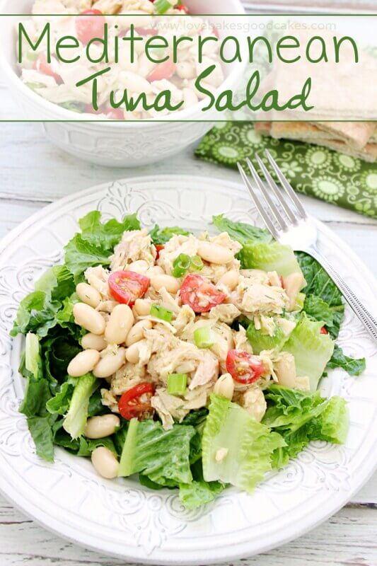 Mediterranean Tuna Salad on a white plate with a fork.