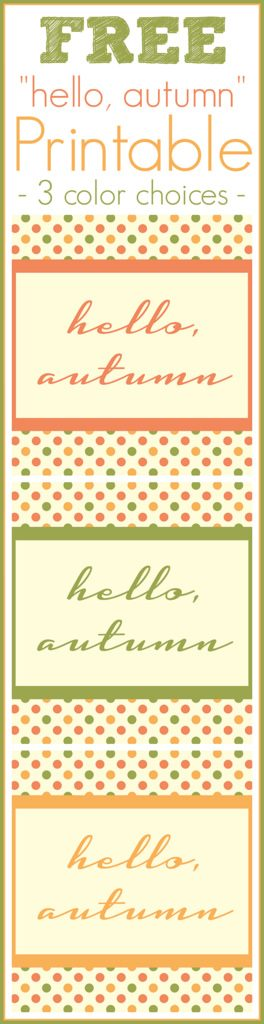 "{FREE} ""Hello, autumn"" Printable"