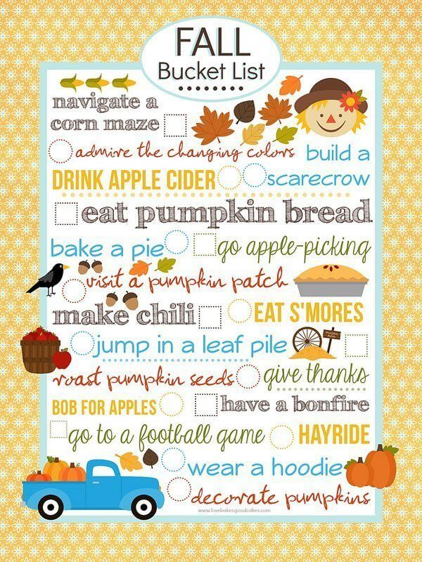 {FREE} Fall Bucket List Printable (8×10)