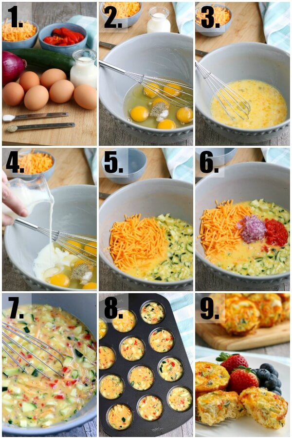 step by step pics how to make omelet cups