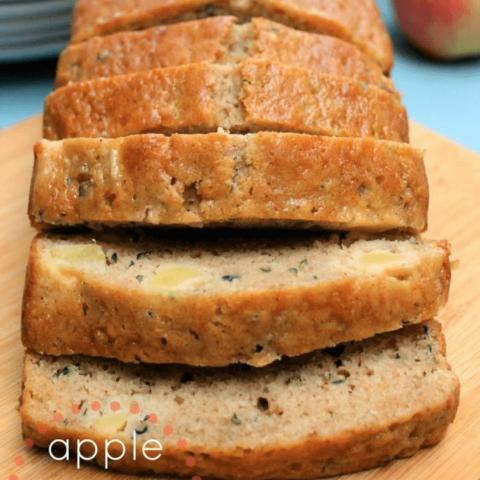 Apple Zucchini Bread on a cutting board.