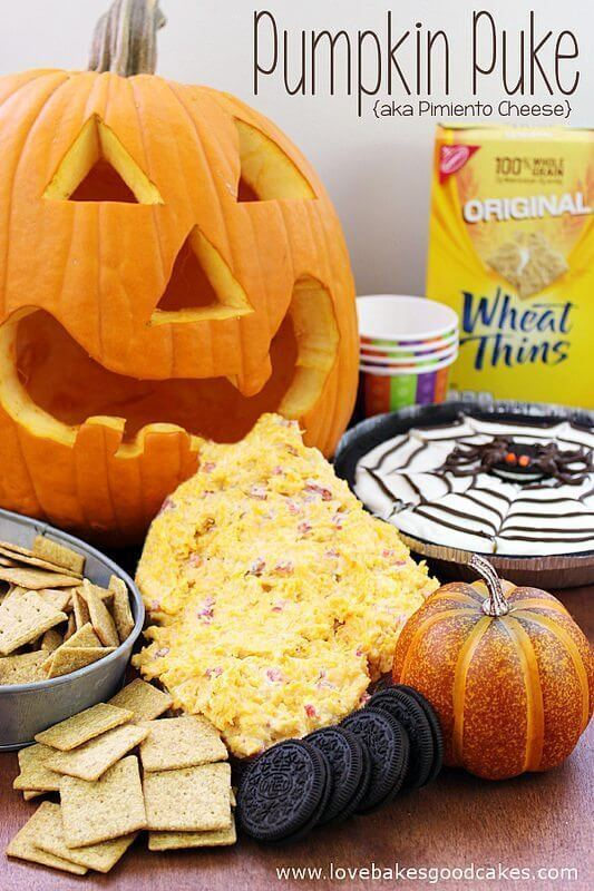 Halloween Snacks: Pumpkin Puke {aka Pimiento Cheese Dip} with Wheat Thins