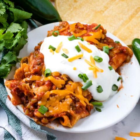 two enchiladas on plate