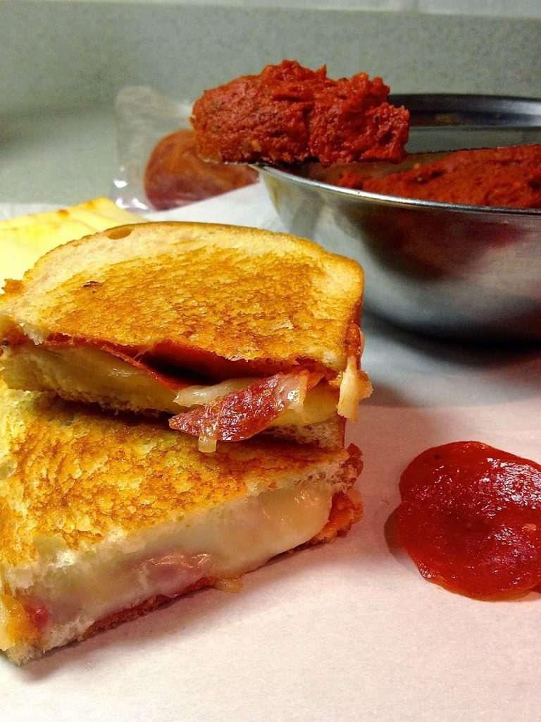 Pepperoni Pizza Grilled Cheese with Pizza Butter