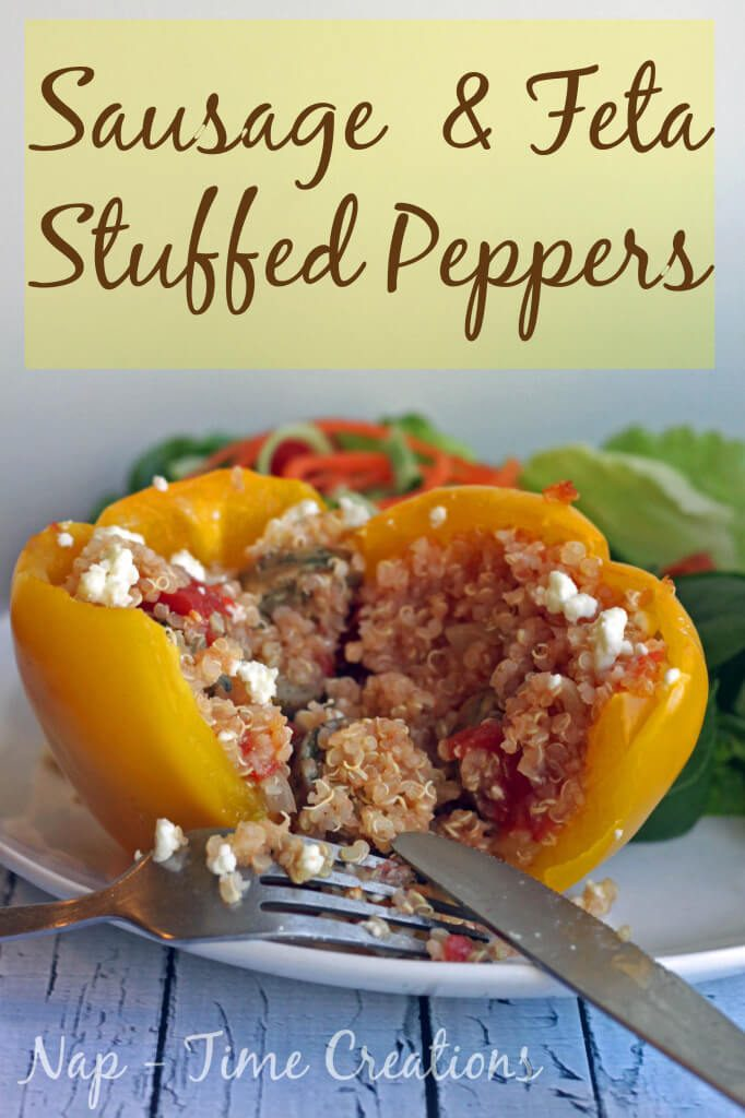 Sausage Stuffed Peppers with Feta