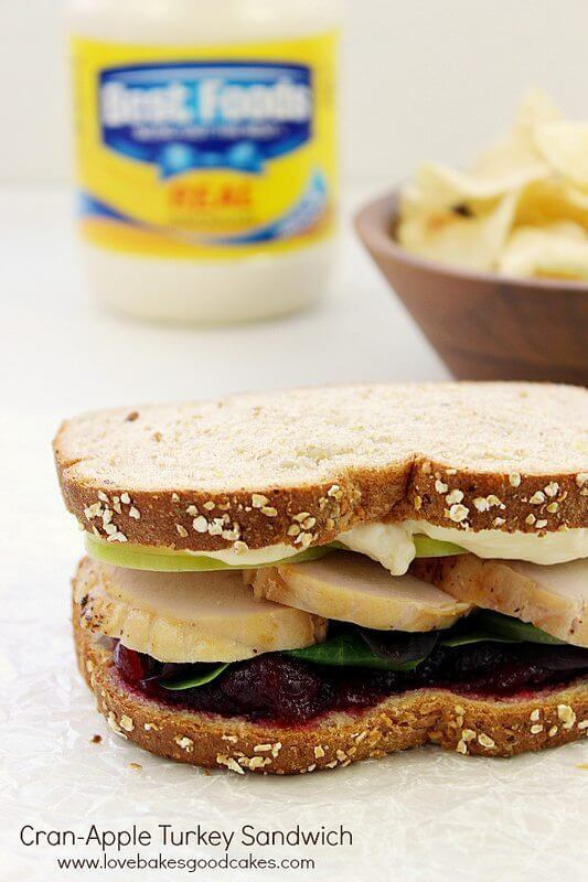 Cran-Apple Turkey Sandwich with Thanksgiving Leftovers!