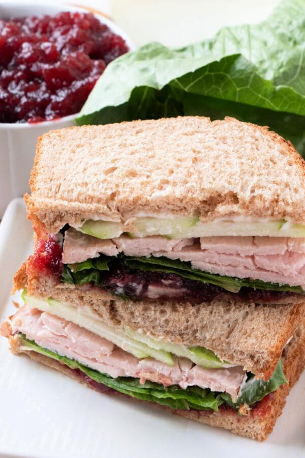 cran-apple turkey sandwich on plate