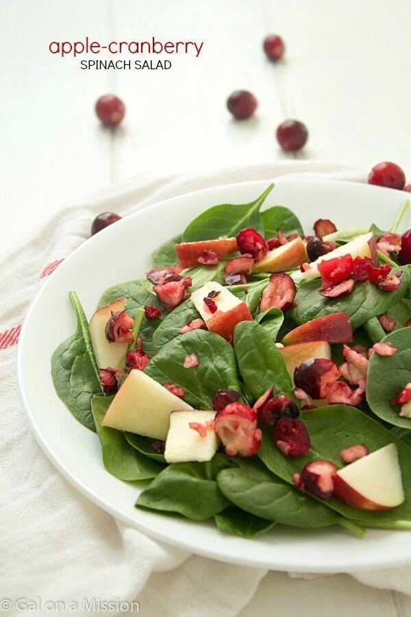 Apple-Cranberry Spinach Salad #EatHealthy15