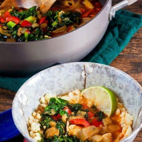 """Red Curry Eggplant and Kale Over Cauliflower """"Rice"""""""