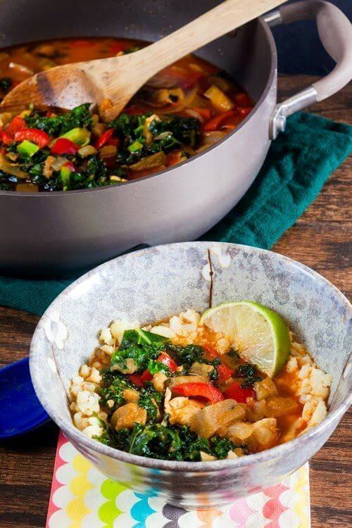 """Red Curry Eggplant and Kale Over Cauliflower """"Rice"""" #EatHealthy15"""