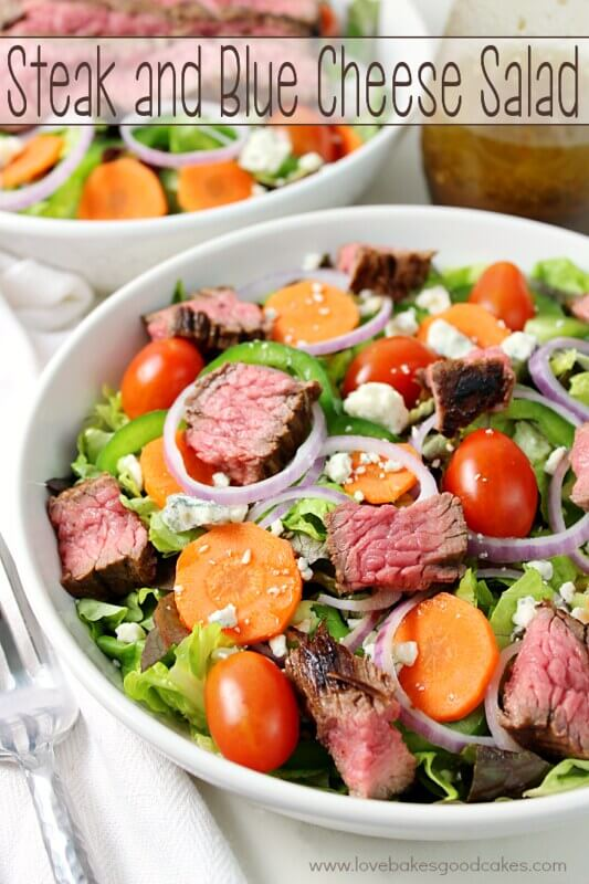 Steak and Blue Cheese Salad in a white bowl.