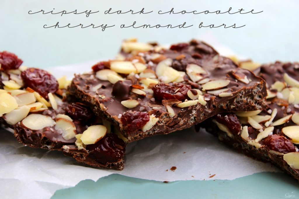 Crispy Dark Chocolate Cherry & Almond Bars
