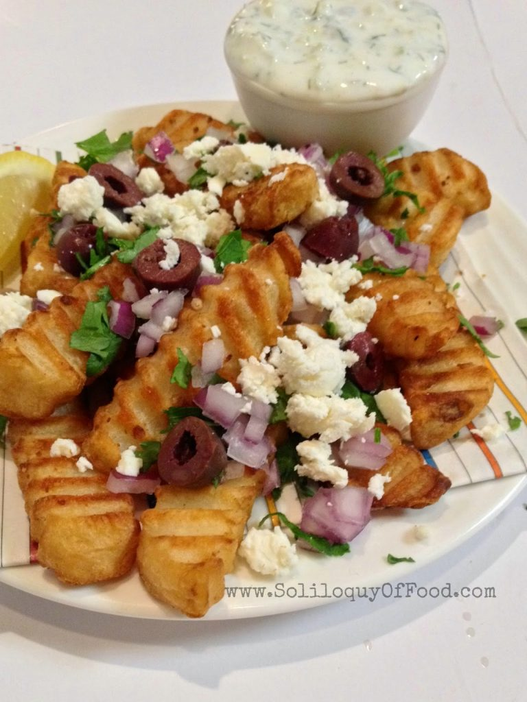 We don't need no stinkin KETCHUP....Tzatziki for these fries, please!  www.SoliloquyOfFood.com via LoveBakesGoodCakes.com