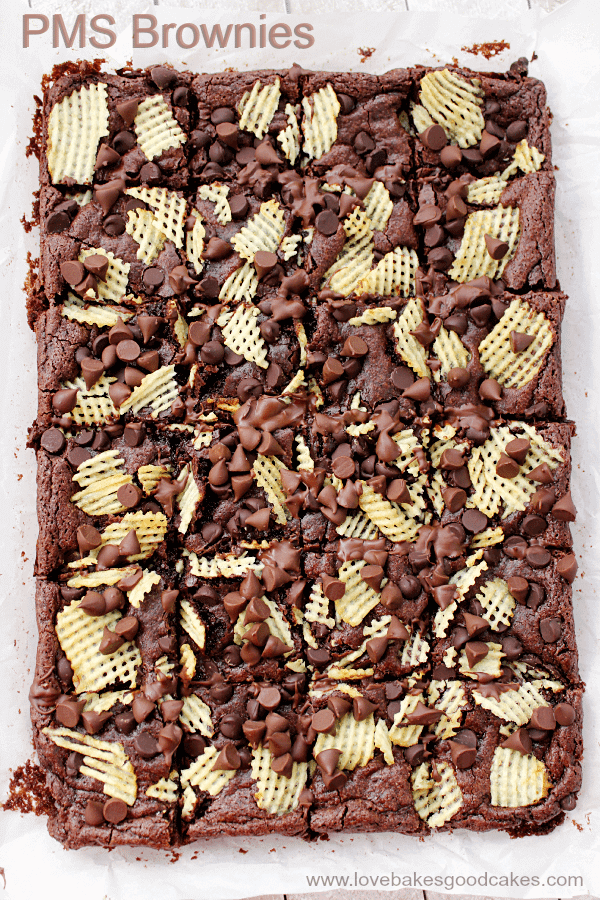 PMS Brownies with Cape Cod® Potato Chips on parchment paper.