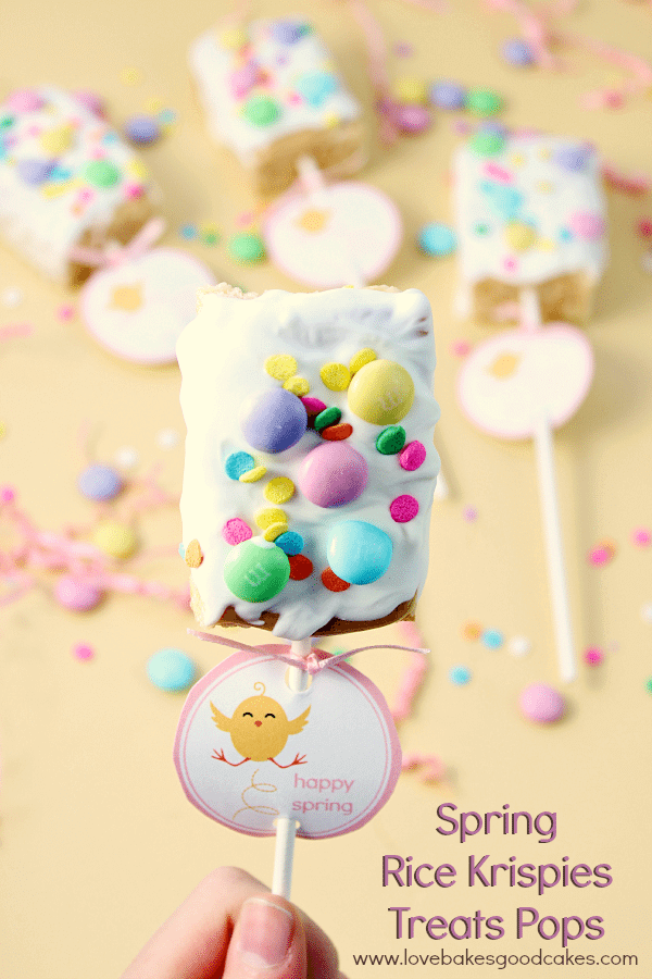 Spring Rice Krispies Treats Pops – a  fun snack for Spring!