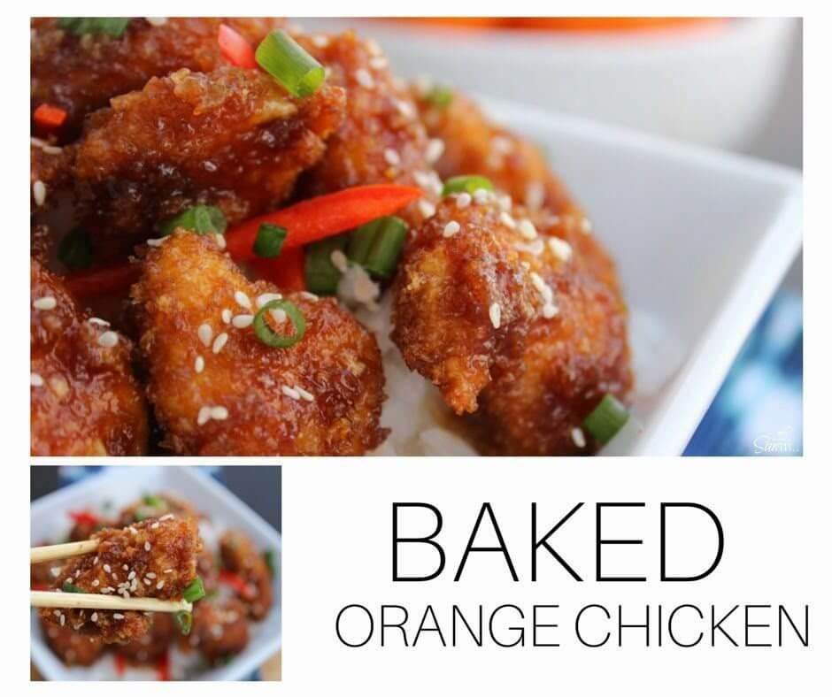 Baked Orange Chicken on a plate.