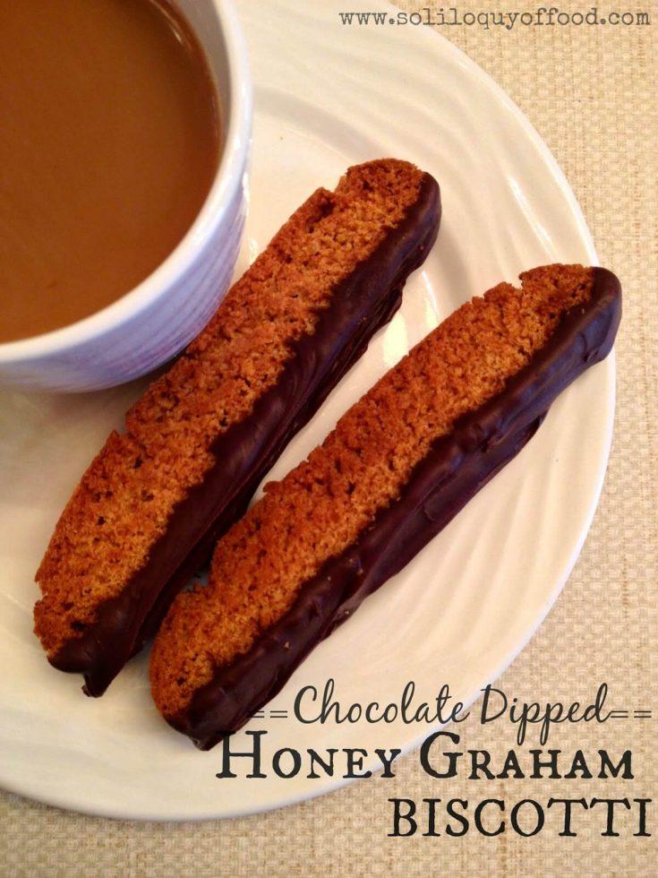 Chocolate Dipped Honey Graham Biscotti