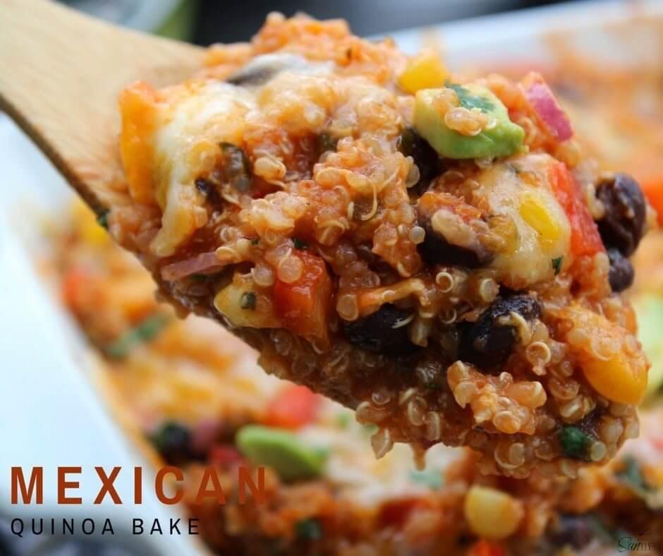 Mexican Quinoa Bake on a spoon.