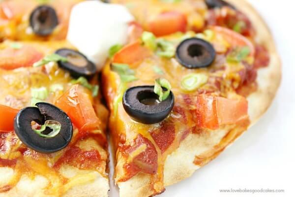 closeup of Mexican Pizza slice