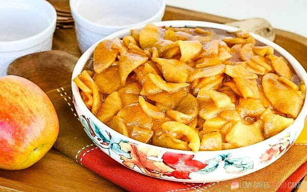 Horizontal Fried Apples in bowl.